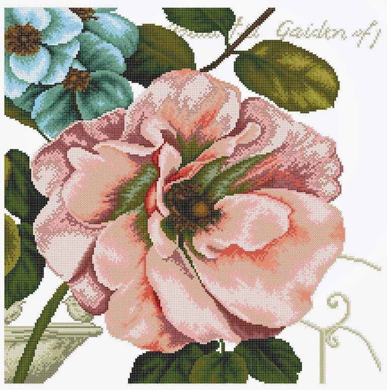 Схема для вишивки та вишивання бісером Бисерок «Вінтажні квіти 1» (50х50) (ЧВ-6504(10))