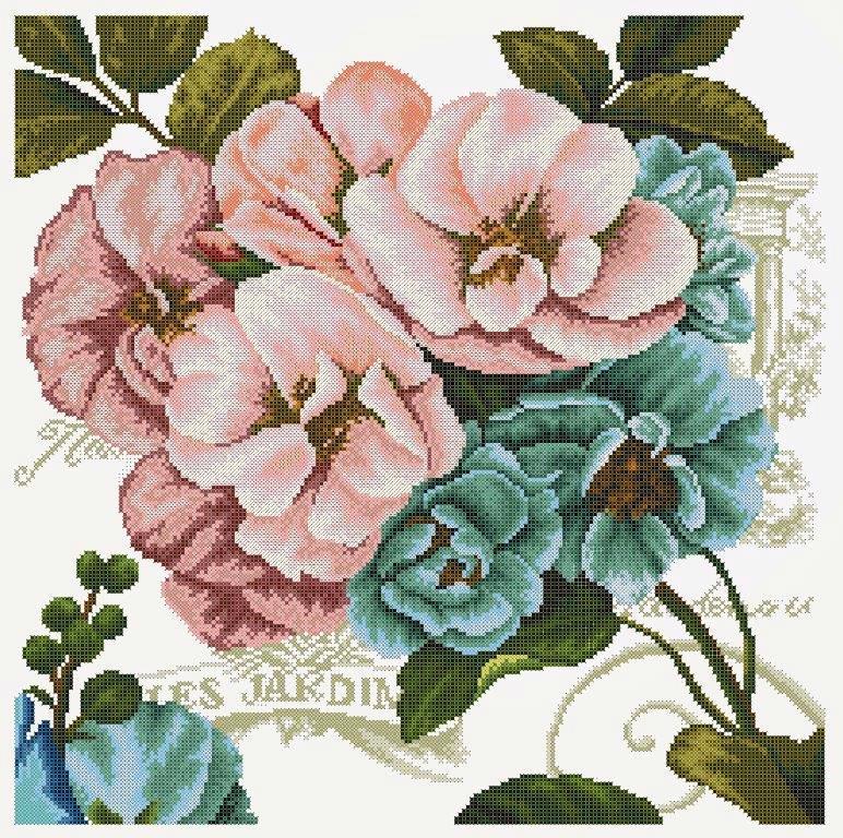 Схема для вишивки та вишивання бісером Бисерок «Вінтажні квіти 2» (50х50) (ЧВ-6505(10))