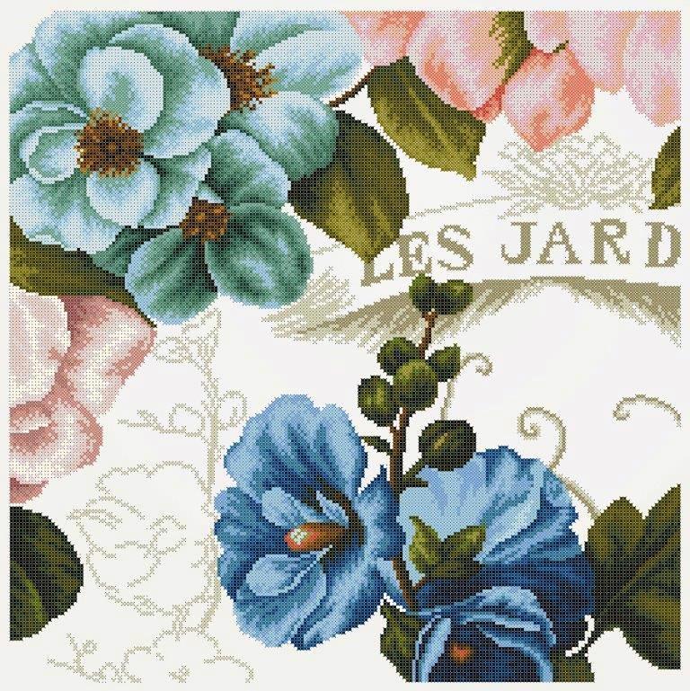 Схема для вишивки та вишивання бісером Бисерок «Вінтажні квіти 3» (50х50) (ЧВ-6506(10))