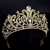 Корона для конкурса, диадема, тиара под золото, высота 9 см.