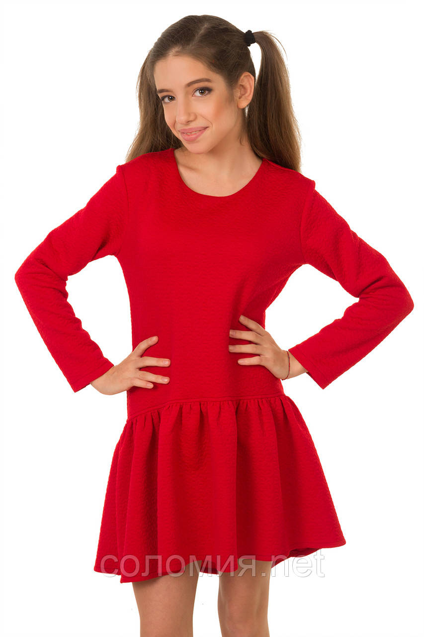 Яркое Осенне-весеннее платье из структурной плотной ткани для девочки 134-152р
