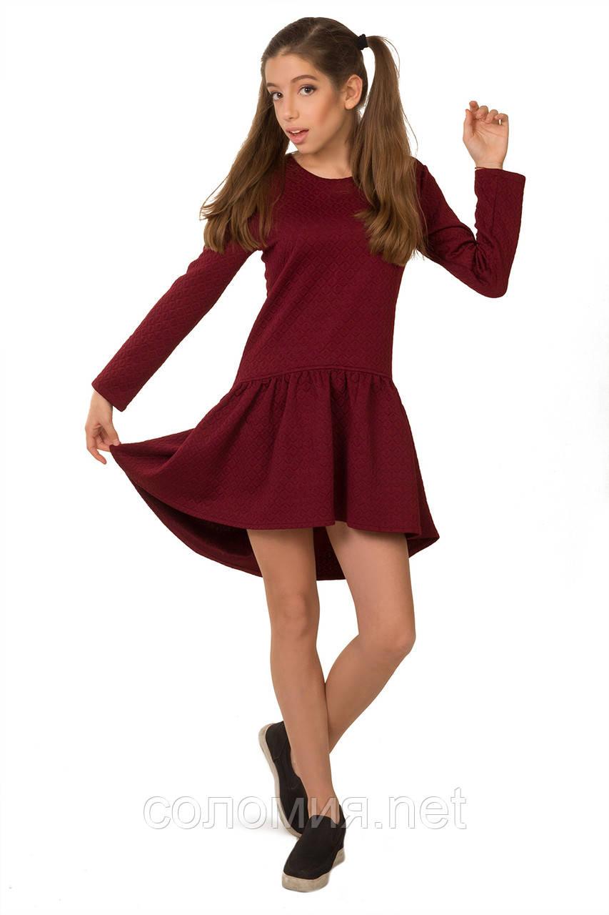 Осенне-весеннее платье из структурной плотной ткани для девочки 134-152р