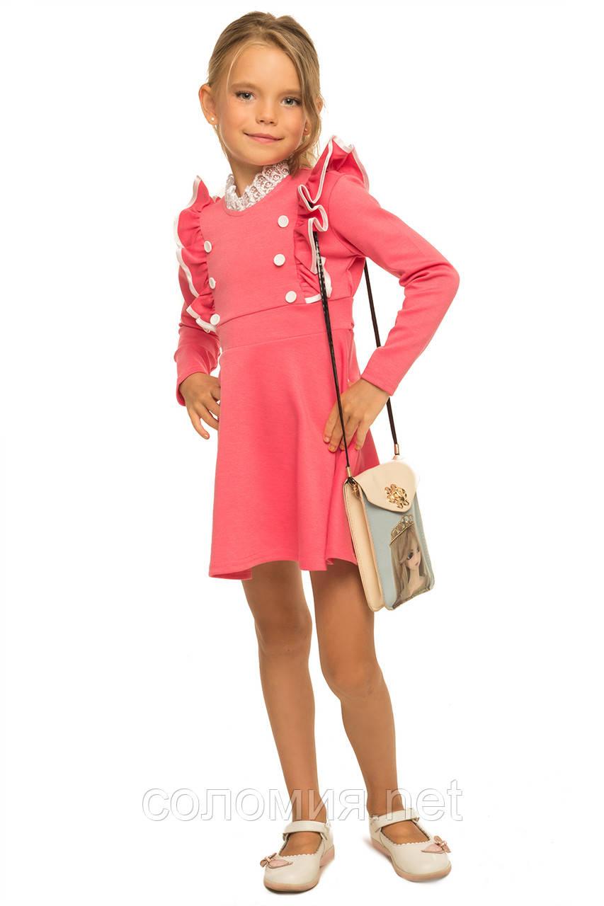 Прелестное платье с рюшами на груди для девочки 110-116р