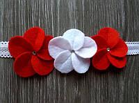 Детская повязка на голову с красными цветочками для девочки для фотосессии новорожденных