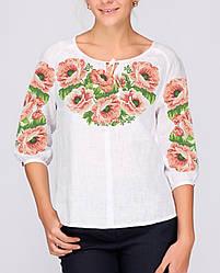 Заготівля вишиванки жіночої сорочки та блузи для вишивки бісером Бисерок «Рожеві Маки» (Б-07)