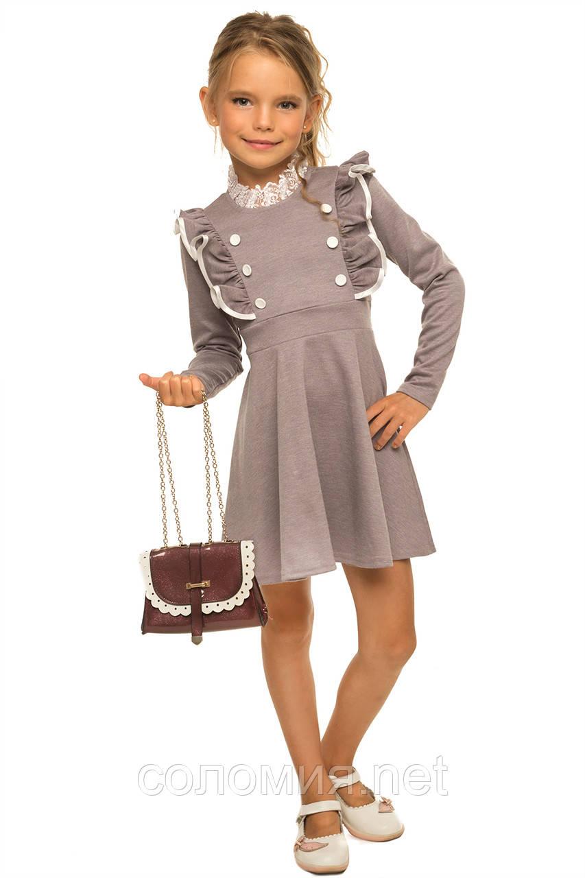 Симпатичное платье с рюшами на груди для девочки 110-116р