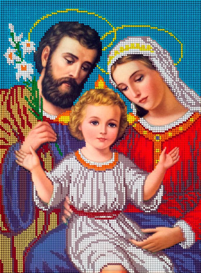 Схема для вишивки та вишивання бісером Бисерок ікона «Святе сімейство» (A3) 30x40 (ЧВ-5015)