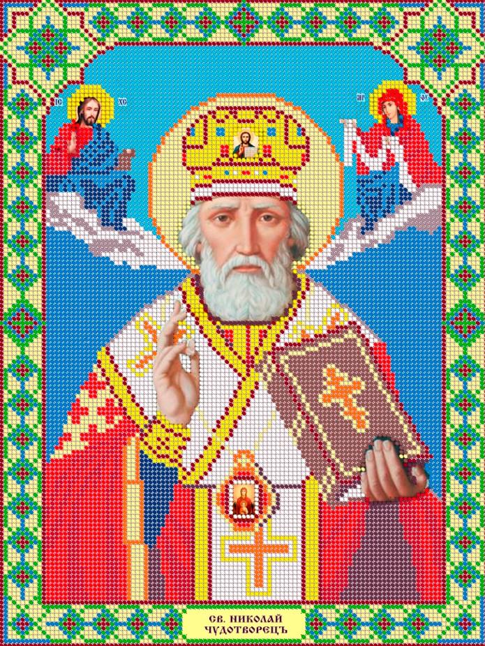 Схема для вишивки та вишивання бісером Бисерок ікона «Микола Чудотворець» (A3) 30x40 (ЧВ-5018)