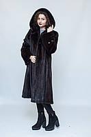 Норковая длинная шуба, с капюшоном, цвет - махагон, фото 1