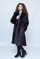 Норковая  шуба Oscar Fur 305  Темно- коричневый , фото 1