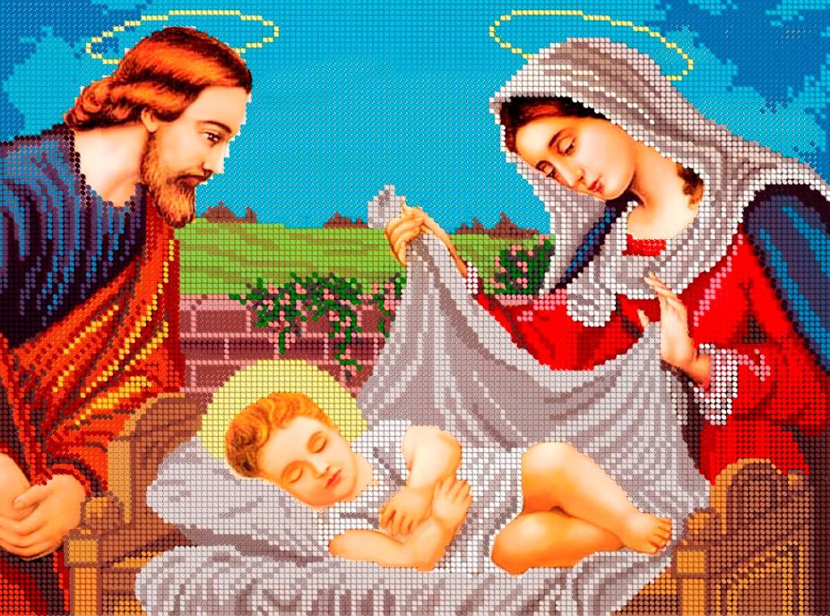 Схема для вишивки та вишивання бісером Бисерок ікона «Ісус у колисці» (A3)  30x40 (ЧВ-5024)