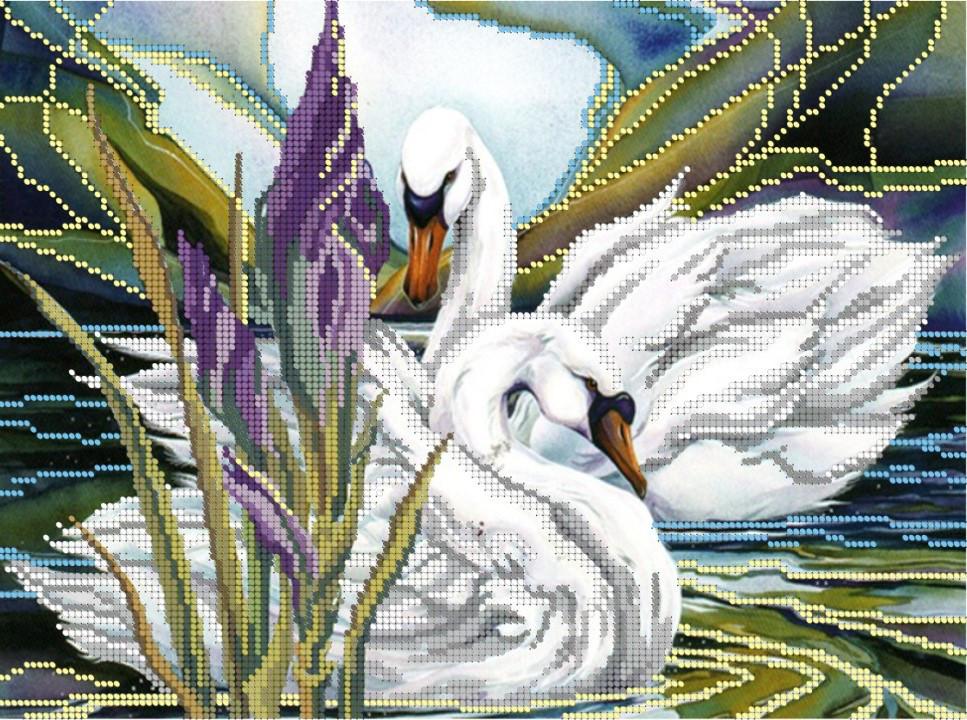 Схема для вишивки та вишивання бісером Бисерок «Лебеді та ірис» (A3) 30x40 (ЧВ-5026)
