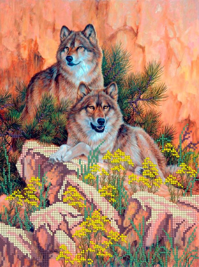 Схема для вишивки та вишивання бісером Бисерок «Пара вовків» (A3) 30x40 (ЧВ-5034)