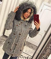 Пальто- парка зимняя иск. чернобурка