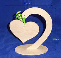 Подставка с подвесом Сердце 15х7х16 см Фанера заготовка для декора