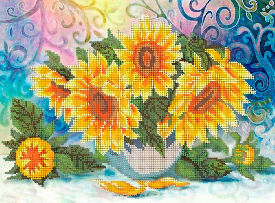 Схема для вишивки та вишивання бісером Бисерок «Соняшники» 5074 (A3) 30x40 (ЧВ-5074)