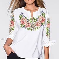 Заготовка вишиванки жіночої сорочки та блузи для вишивки бісером Бисерок  «Пишні троянди» (Б 0b2018ffd4a5d