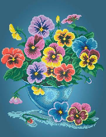 Схема для вишивки та вишивання бісером Бисерок  квіти «Братки» (A3) 30x40 (ЧВ-5103(10))