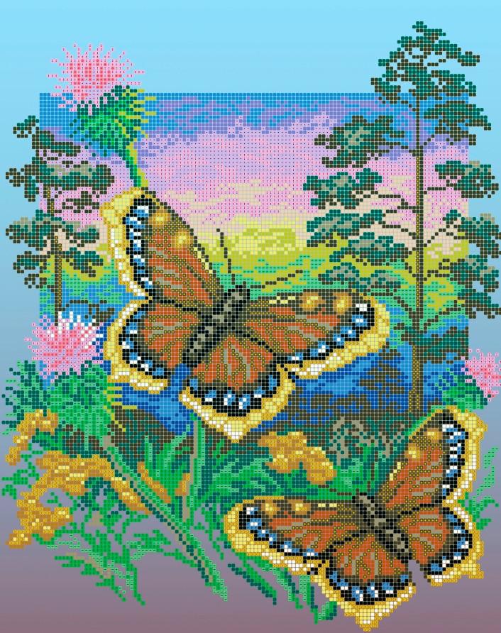 Схема для вишивки та вишивання бісером Бисерок «Метелики шоколадниці» (A3) 30x40 (ЧВ-5109(10))