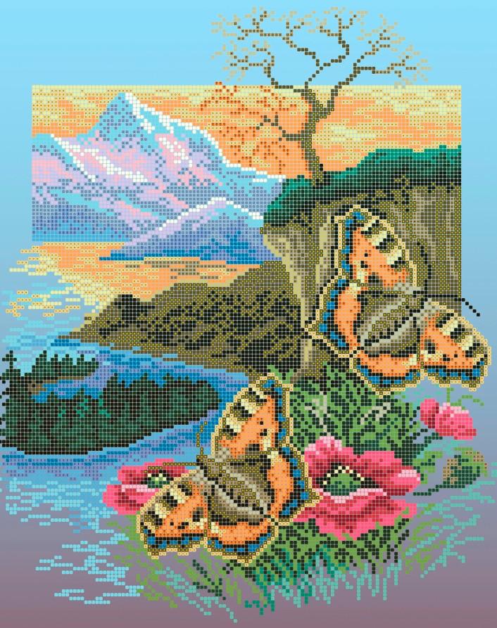 Схема для вишивки та вишивання бісером Бисерок «Метелики кропивянки» (A3) 30x40 (ЧВ-5110(10))