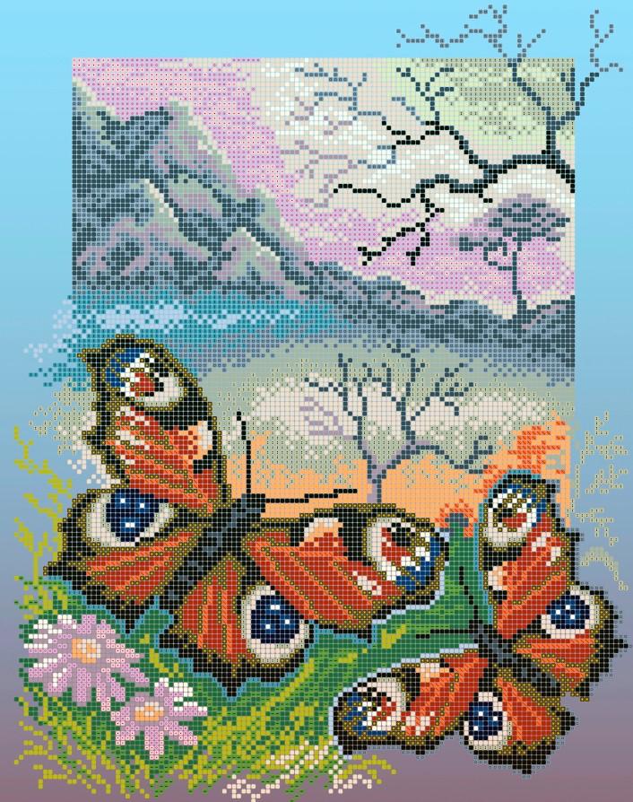 Схема для вишивки та вишивання бісером Бисерок «Метелики павине око» (A3) 30x40 (ЧВ-5111(10))
