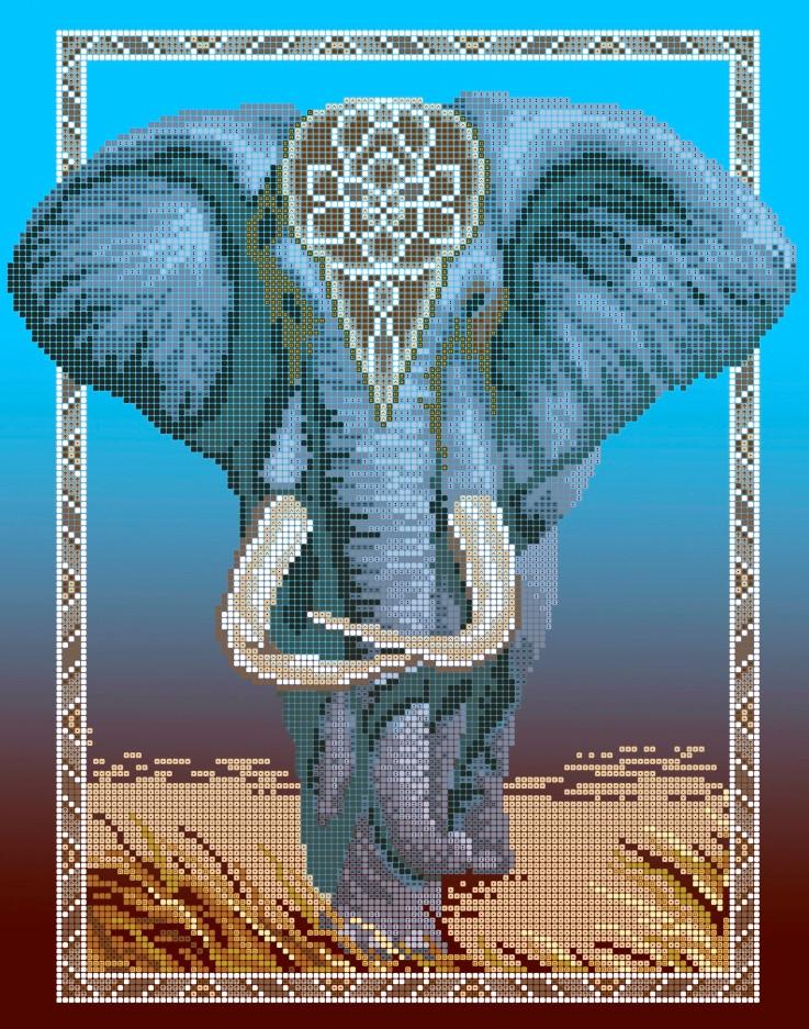 Схема для вишивки та вишивання бісером Бисерок «Слон» (A3) 30x40 (ЧВ-5114(10))