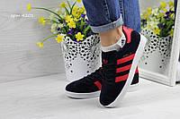 Женская обувь 4201 Adidas Gazelle темно синие с красным, Индонезия