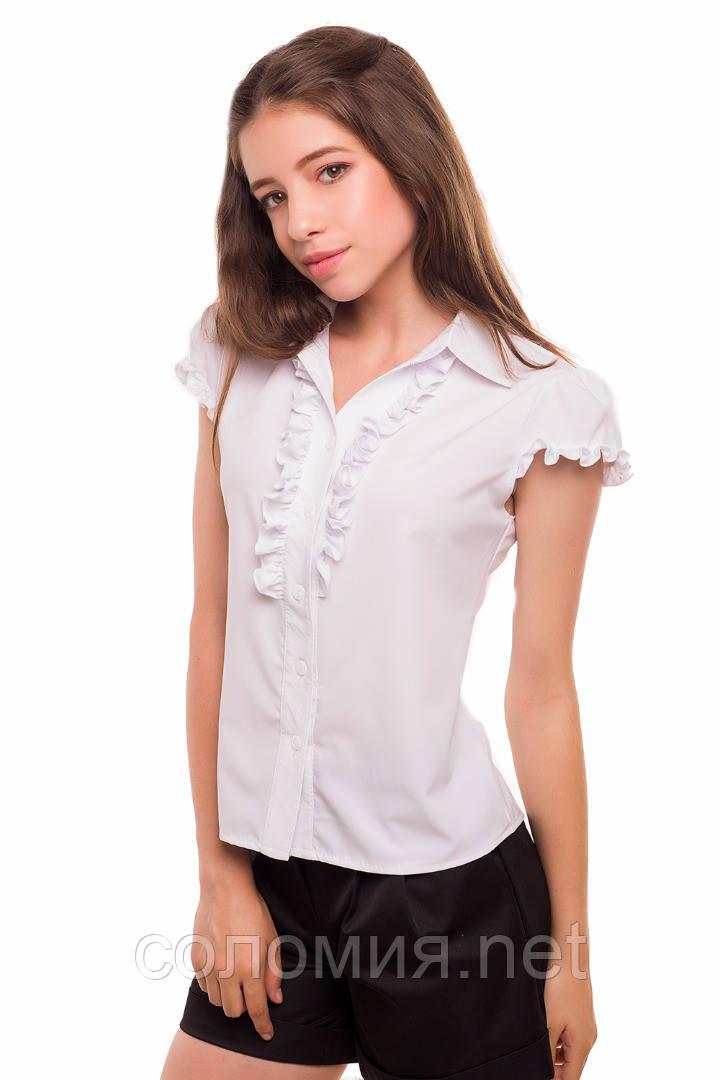 76eb13cb137 Классическая школьная блуза с коротким рукавом для девочки 128-152р -  Интернет-магазин