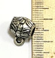 "Бейл, Держатель для кулона, "" Цветок "", Античное серебро, Пластик, 13 mm x 10 mm"