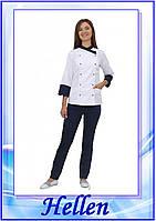 """Кухарський костюм жіночий """"Бордо 2""""/біло-синій"""