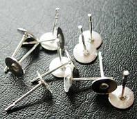 Основы для пусет, метал, цвет - серебро