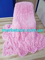 Покрывало плед травка 160х200 Koloco исскуственный мех. Розовое кружево.