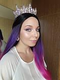 Набор корона, диадема, тиара, серьги под серебро с фиолетовыми камнями, высота 7 см., фото 3
