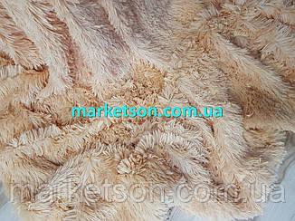 Покрывало плед травка 160х200 бамбуковое меховое пушистое с длинным ворсом Полуторное Персиковый, фото 2