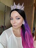 Набор корона, диадема, тиара, серьги под серебро с фиолетовыми камнями, высота 7 см., фото 2