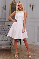 Модное платье с юбкой солнце из парчи синего цвета 90254/1, фото 1