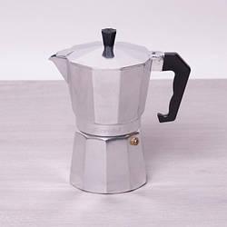 Кофеварка гейзерная Kamille на 6 чашек (300 мл) из алюминия (ребристая крышка и нижняя часть)