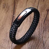 Мужской кожаный плетеный браслет с вставкой из ювелирной стали