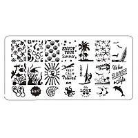 """Пластина для стемпинга """"Отдых на острове Бенидорм"""" для дизайна декора ногтей"""
