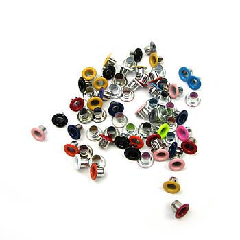 Люверсы Блочки для рукоделия 3мм разные цвета 25шт в наборе