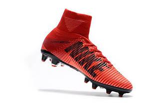 Футбольные бутсы Nike Mercurial Superfly V AG-Pro Bright Crimson/White/University Red (топ реплика), фото 2