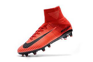 Футбольные бутсы Nike Mercurial Superfly V AG-Pro Bright Crimson/White/University Red (топ реплика), фото 3