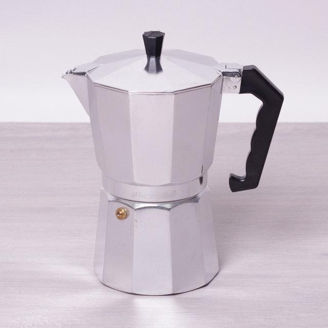Кофеварка гейзерная Kamille на 9 чашек (450 мл) из алюминия (ребристая крышка и нижняя часть)