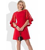 Красное платье с пышными рукавами