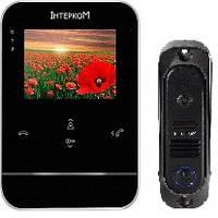 Комплект видеодомофон и вызывная панель Интерком ІМ-11 (ІМ-01 black + ІМ-10 black)