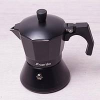 Кофеварка гейзерная Kamille на 3 чашки (150 мл) из алюминия для индукционной плиты