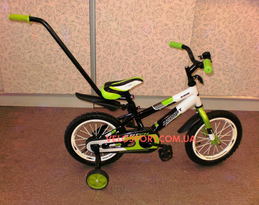 Детский велосипед Azimut Stitch Premium 12 дюймов c ручкой