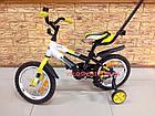 Детский велосипед Azimut Stitch Premium 12 дюймов c ручкой, фото 3