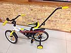 Детский велосипед Azimut Stitch Premium 12 дюймов c ручкой, фото 4