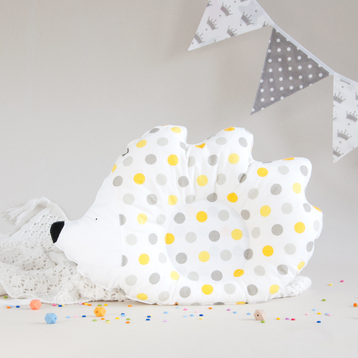 """Подушка детская """"Ежик"""", yellow dots"""